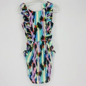 NWT Ark & Co Color Block Open Back Ruffle Dress S